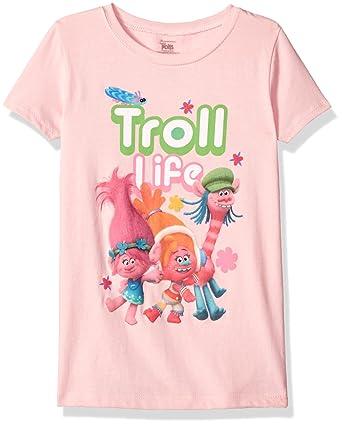 b713741884e8a Trolls Girls' Little Girls' Movie Life Short Sleeve T-Shirt, Light Pink