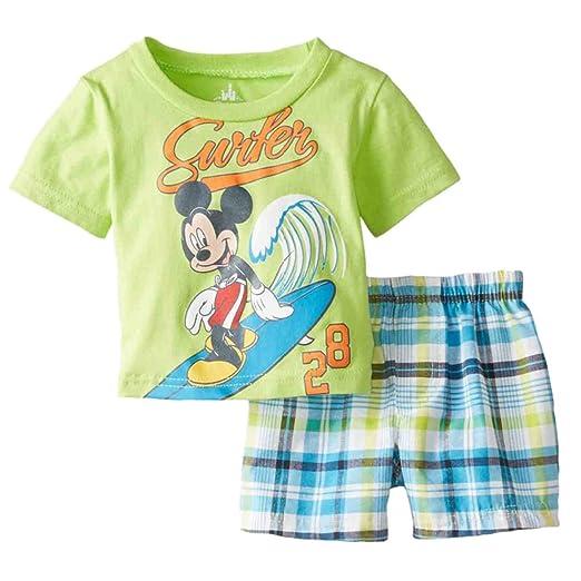 85af6e3016eb Amazon.com  Disney Infant Boys 2 Piece Mickey Mouse Surfer T-Shirt ...