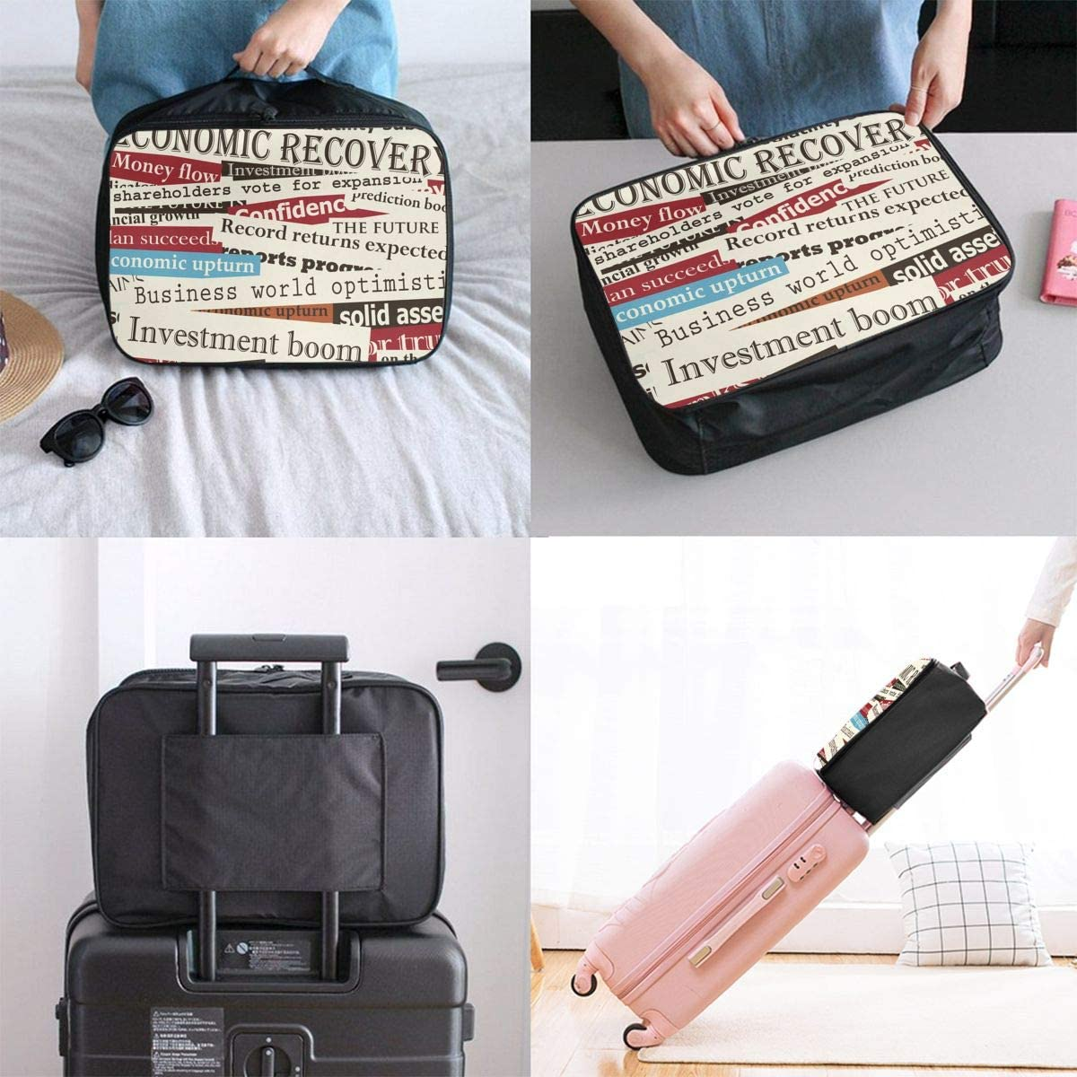 English Travel Carry-on Luggage Weekender Bag Overnight Tote Flight Duffel In Trolley Handle