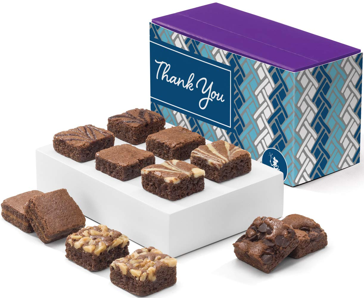 Fairytale Brownies Thank You Magic Morsel Dozen Gourmet Chocolate Food Gift Basket - 1.5 Inch x 1.5 Inch Bite-Size Brownies - 12 Pieces - Item HY412