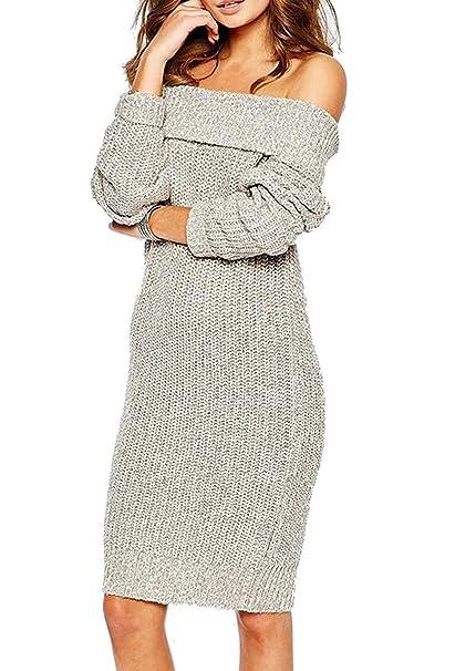 Vestidos Mujer Elegantes Otoño Invierno Ropa Moda Carmen Manga Largo Vestidos Pullover La Rodilla Vintage Casuales Off Shoulder Sweater Dress Básicos (Color ...