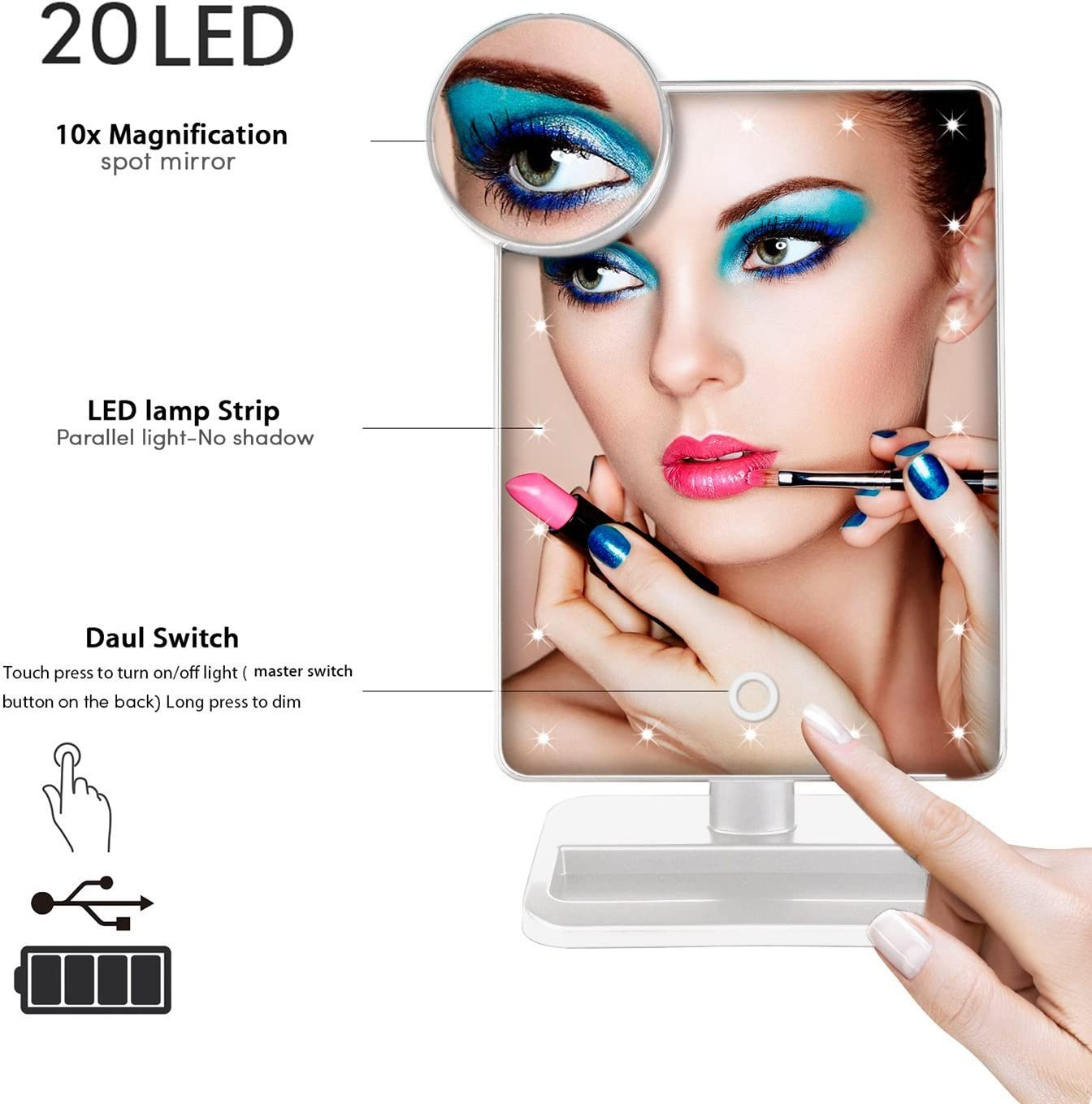 + Free Makeup Blush Brush Black Rotatable with Battery Operated LED Lights Beautify Beauties Lighted Makeup Mirror