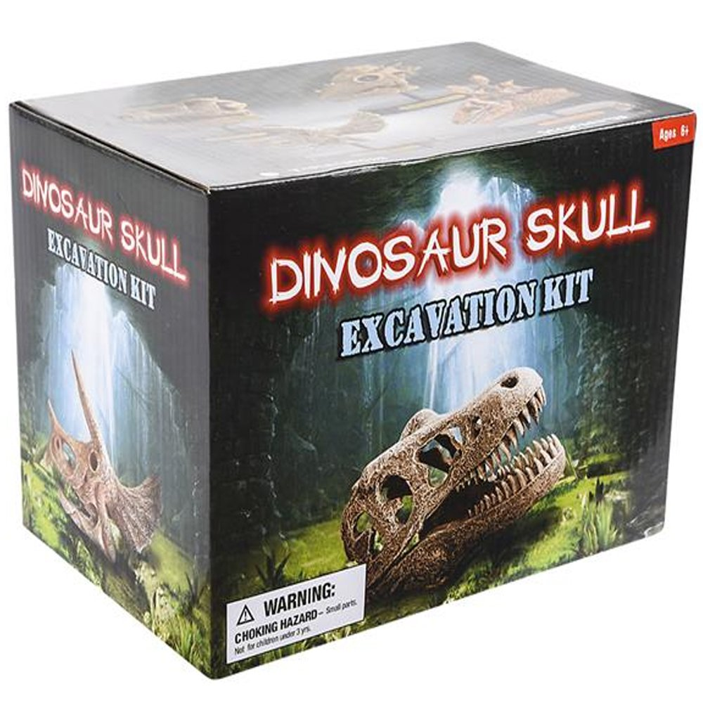 """Holiday// Birthday Gift for Boys 7/"""" T-Rex Dino Skull Excavating Set with Fossil Digging Tools and Stand Adults Fun Science Activity Toy ArtCreativity Dinosaur Excavation Kit for Kids Girls"""