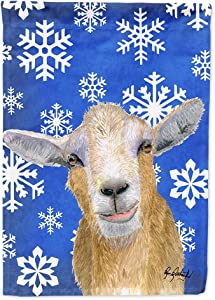 Caroline's Treasures RDR3023GF Winter Snowflakes Goat Winter Flag Garden Size, Small, Multicolor