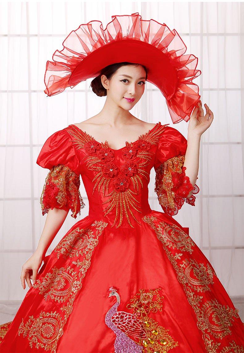 Zukzi Women's Gorgeous Victorian Train Ball Gown Wedding Dress, US 18, #W018 Red by Zukzi (Image #4)