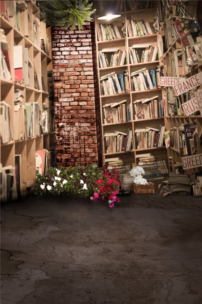 W Computer Printed Photography Background Backdrop 98.4 IN 59 IN Library Books 1.52m H