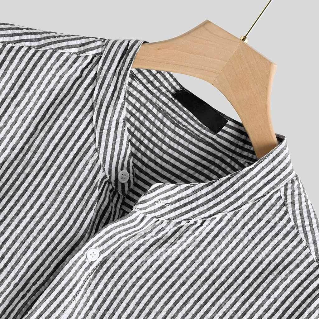 Misaky Shirt for Men Summer Mens Striped Long Sleeve Pocket Cotton Top Blouse Fit Slim Top