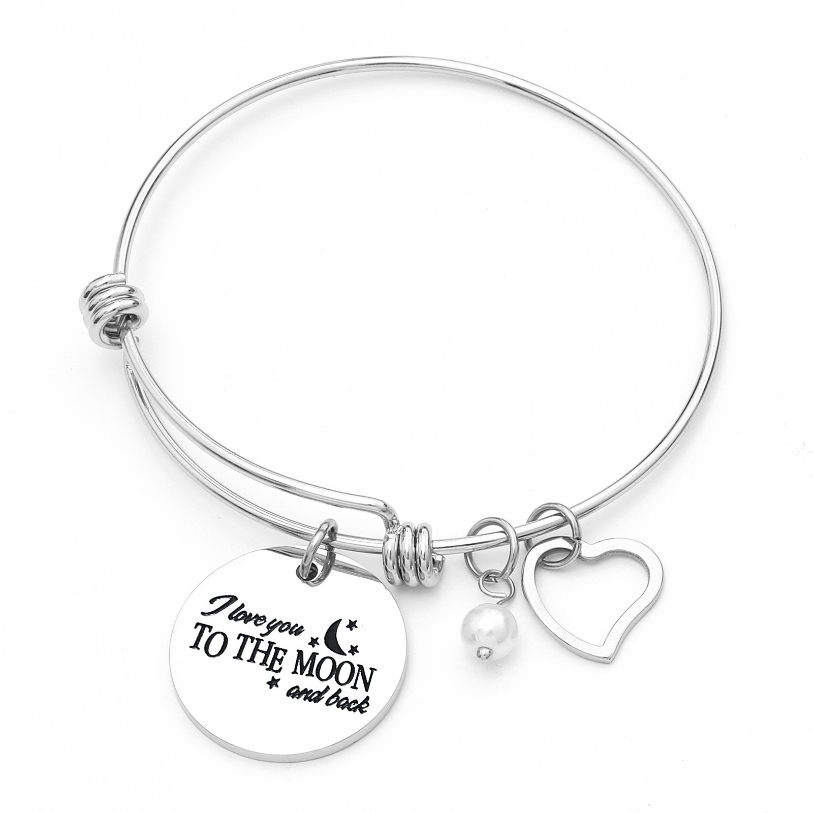 Sunflower Jewellery Love Charm Braceklet I Love You To The Moon And Back Pearl Adjustable Bangle Silver