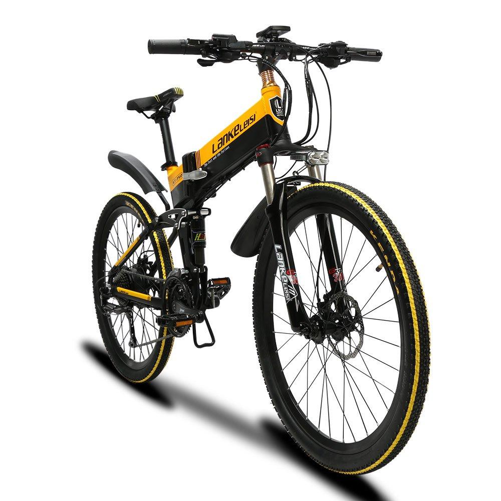Cyrusher XT750 男子折りたたみアシスト自転車 フルサスペンション 500W 48v 10.8ah シマノ27段速 公道走行と防犯登録可能 B07DVHYQ2V 黄 黄