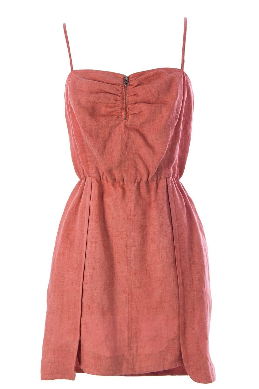 Rebecca Minkoff Women's Linen Nitanita Sun Dress Sz 4 Burnt Orange
