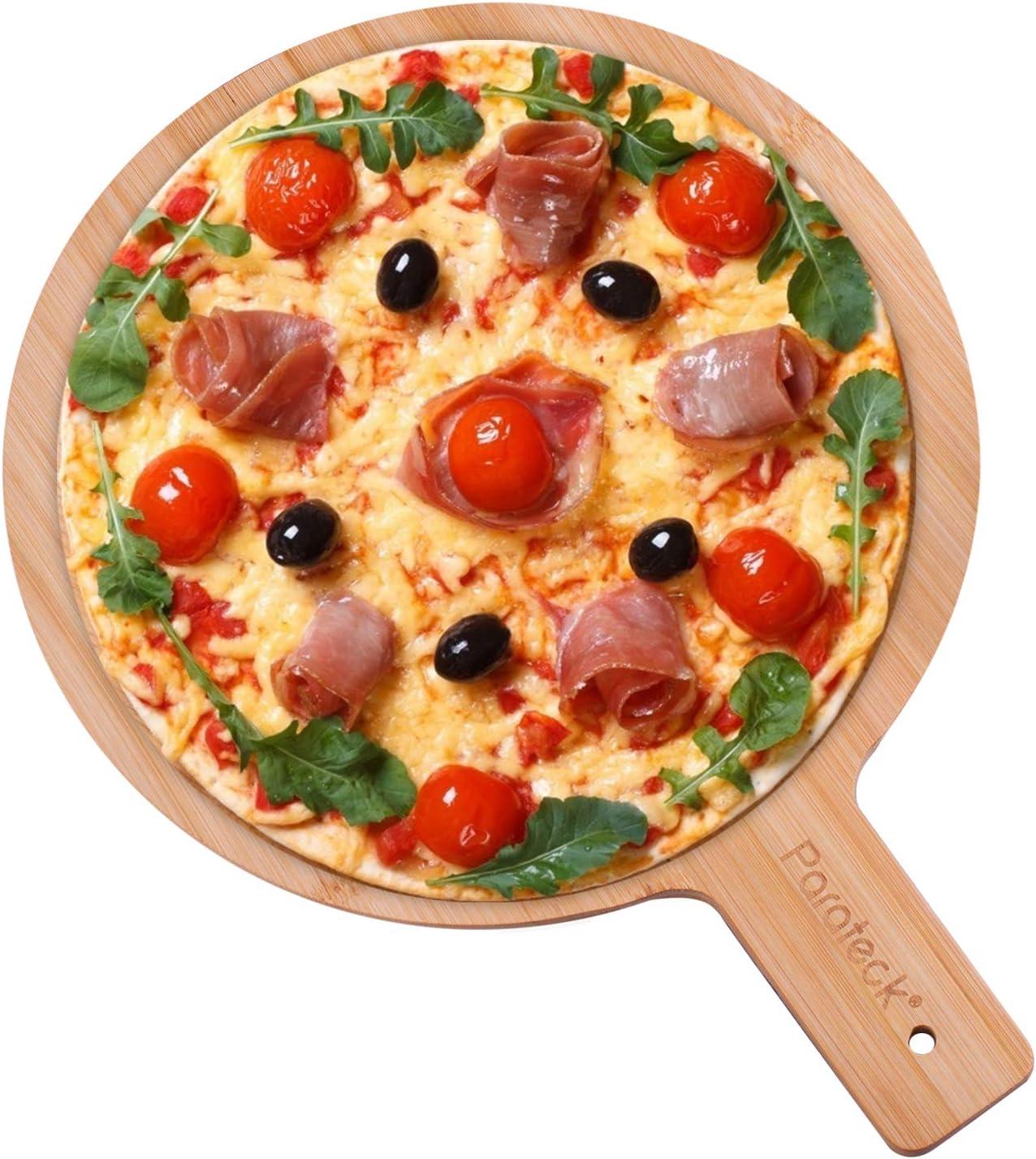 K/äse und Gem/üse Natur-Holz Brotzeitbrett K/üche Schneidebrett f/ür Fleisch Fablcrew Pizzabrett mit Griff