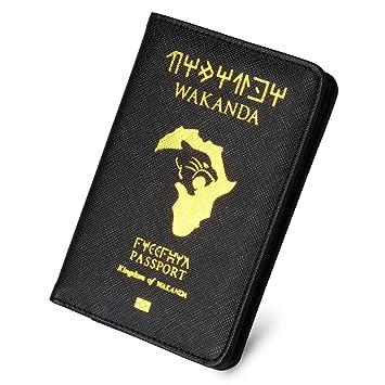 Reisepass Schutzh/ülle Ausweis und Reisedokumente Black Panther Wakanda Kingdom of Wakanda Premium Kunstleder Reisepassh/ülle Halter Blockier f/ür Kreditkarten