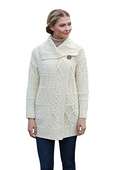 9c8846970fa7 Amazon.com  Aran Woollen Mills Irish Patchwork Wool Knit Coat  Clothing