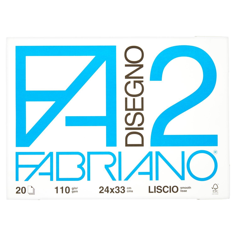 Confezione da 20 Fogli Fabriano Album Disegno F2 4Ang Liscio