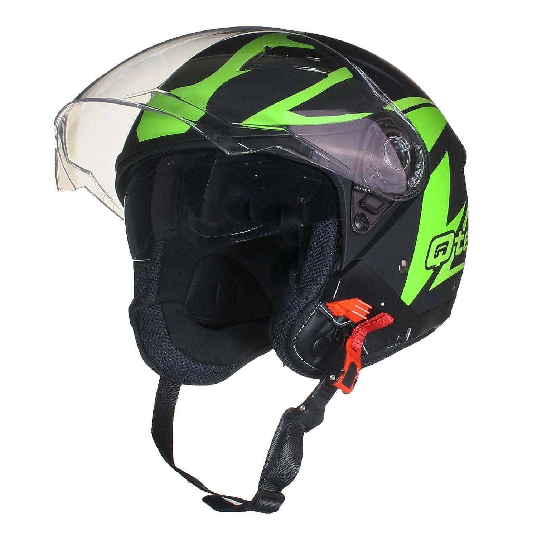 Qtech OPEN Face Motorcycle Helmet SCOOTER Motorbike MATT Black /& Yellow Twin integrated SUN Visor DVS L
