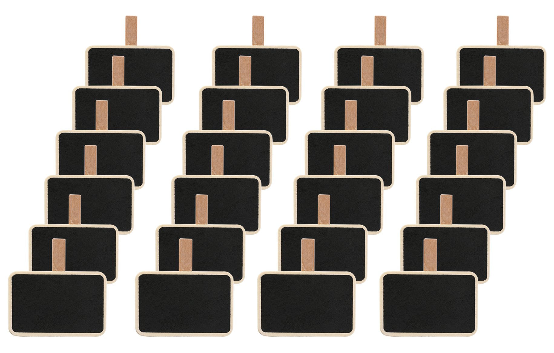 Dedoot 24pcs Rectangle Chalkboard Decorative Wooden Chalk Board Clip, Message Chalk Board Signs Labels Clips for Wedding Kitchen Party Decor Note Taking