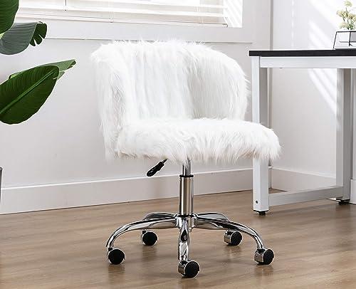 Guyou Modern Curly Hair Fluffy Makeup Chair Home Office Chair