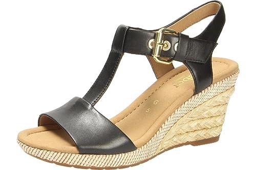 b44a630e97 Gabor Womens Karen 82.824.57 Black Leather Sandals 40.5 EU: Amazon ...