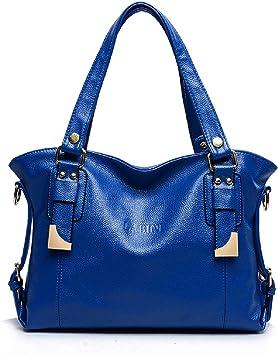 LOVE LABINI Damen Henkeltaschen Marken Schultertaschen PU Shopper Modische Umh/ängetaschen Neu Tasche Blau
