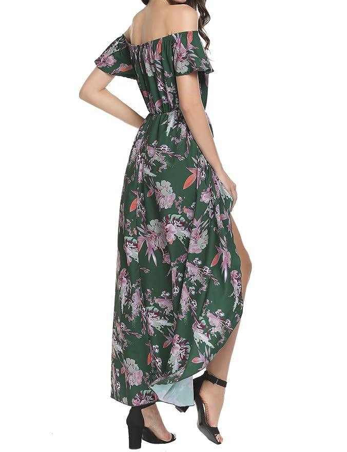de5f9cdd6aa4 Zeagoo Women s Off Shoulder Multicolor Floral High Low Maxi Romper Dress at Amazon  Women s Clothing store