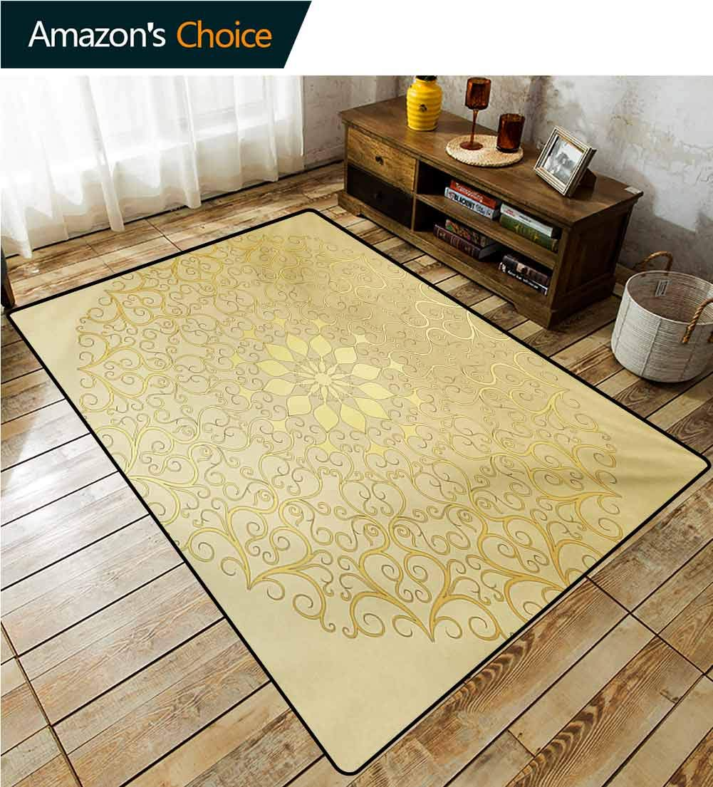 TableCoversHome Striped Bath Mats for Floors, Round Antique Motif Curvy Stylized Ornate Heart Shape Arabesque Influences Fashionable High Class Living Dinning Room, (2'x 3') Yellow Pale Yellow by TableCoversHome