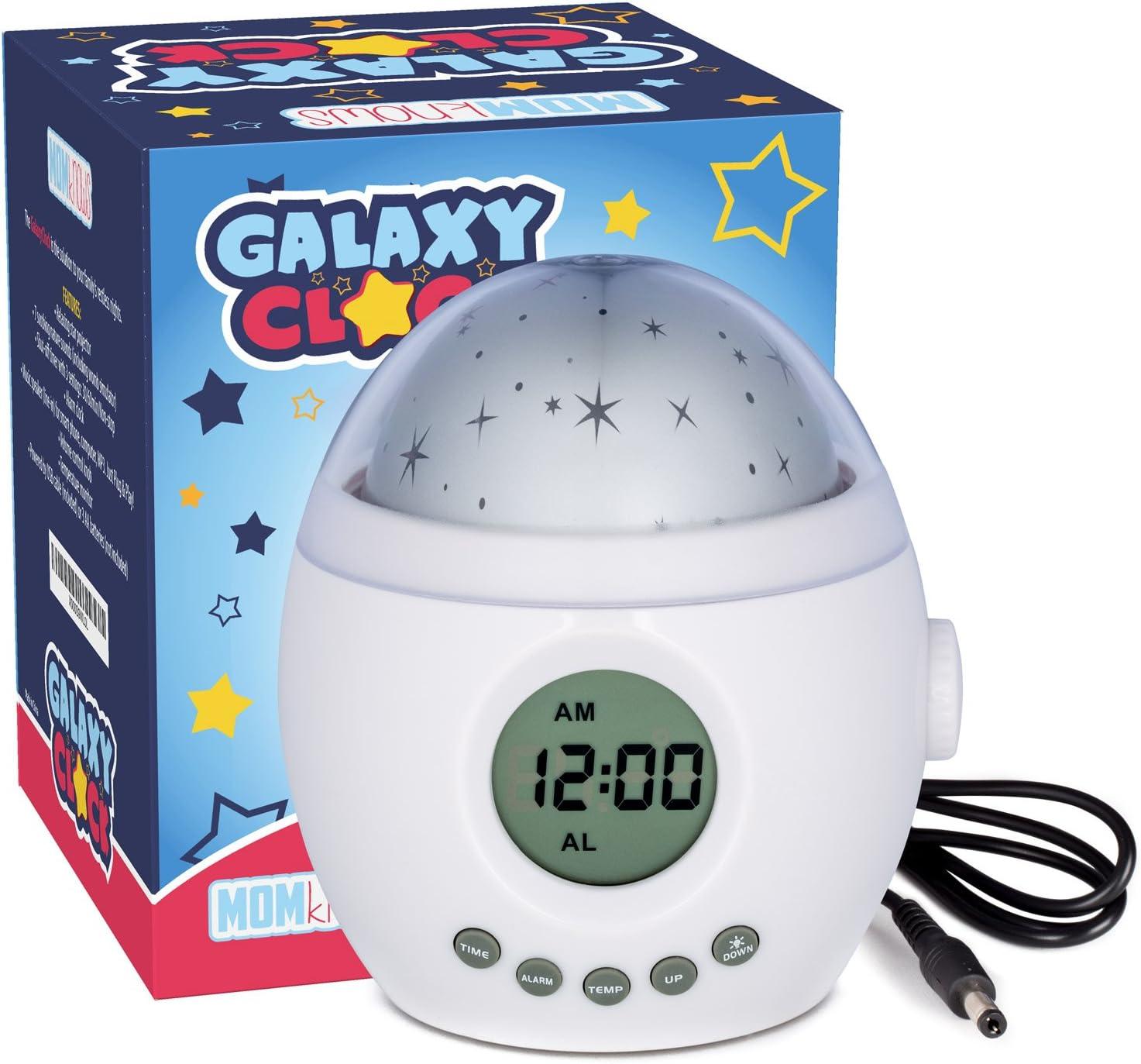Galaxy Horloge par Momknows. apaisant Projecteur d'étoiles son machine. détente lumière de nuit avec sons de la nature et du bruit Blanc. enfants bébé plafond lampe de réveil lampe