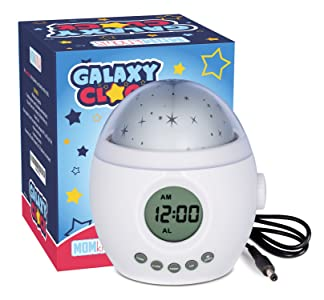Galaxy Clock by MomKnows. Soothing Star Projector Sound Machine. Relaxing Night Light With Nature Sounds and White Noise. Kids Baby Ceiling Projection Alarm Clock Lamp baby sleep gadgets - 71Flgjg 2Bh8L - Baby Sleep Gadgets Review – Help Babies Sleep Throughout the Night