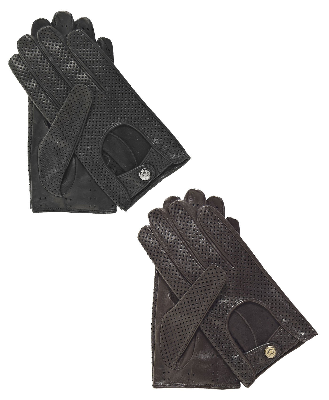 Fratelli Orsini Men's Ventilated Leather Driving Gloves Size 9 Color Brown