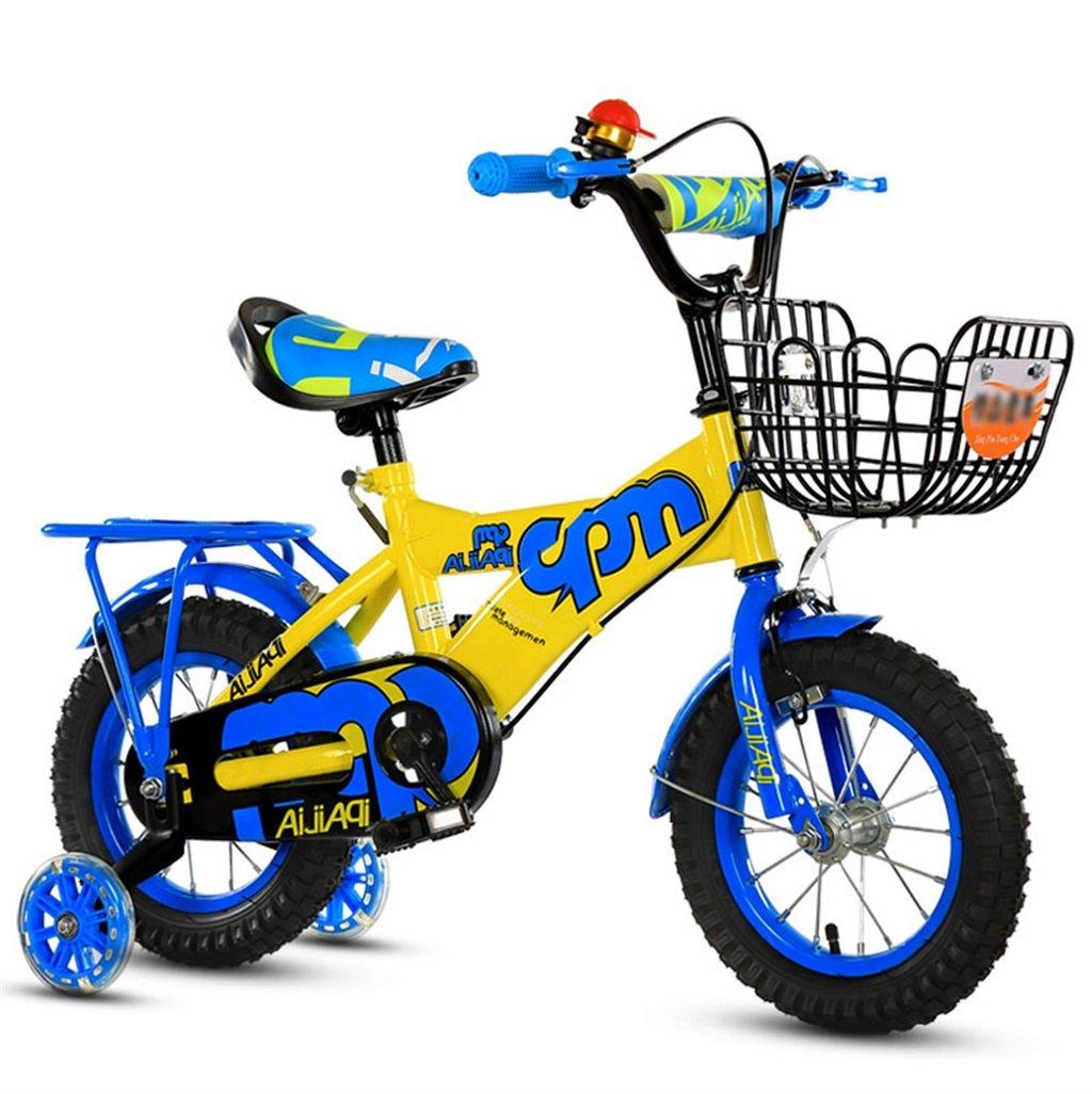 子供の自転車12|14|16|18インチアウトドアの子供ベイビーキッドマウンテンバイクフラッシュトレーニングホイールで2歳から10歳の男の子の女の子の贈り物|アイアンバスケット|バックシート調節可能なセーフロード100KG B078GMKGMV 14 inches|青 青 14 inches