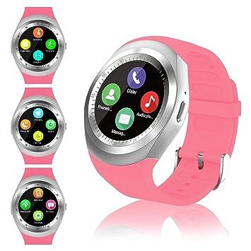 Montre Connectée Femmes Homme Enfant Smartwatch écran Tactile Rond Soutien Carte SIM Bracelet Connecté Podometre Sport