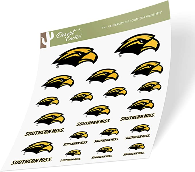 University of Southern Mississippi USM Golden Eagles NCAA Name Logo Vinyl Decal Laptop Water Bottle Car Scrapbook 15 Inch Sticker