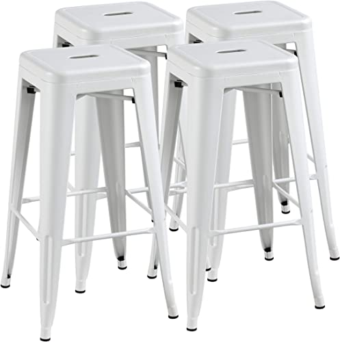 Topeakmart 30 inches Metal Bar Stools High Backless Barstool Stackable Bar Height Stools Chairs, White, Set of 4