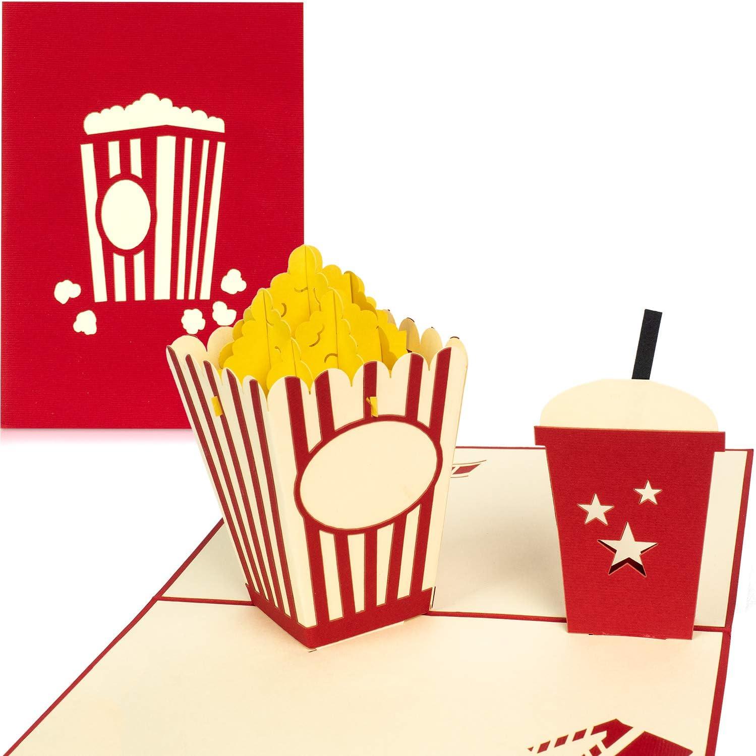PaperCrush - Tarjeta pop-up Tarjeta de cupones en 3D como regalo o embalaje para carné de cine. Tarjeta de cumpleaños hecha a mano con palomitas y sobre incluido.