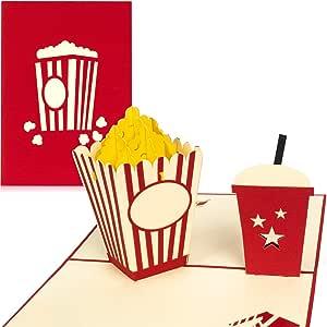 PaperCrush - Tarjeta pop-up Tarjeta de cupones en 3D como regalo o embalaje para carné de cine. Tarjeta de cumpleaños hecha a mano con palomitas y sobre incluido.: Amazon.es: Oficina y papelería