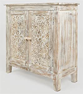 Jofran Global Archive Hand Carved Accent Chest Cabinet, 32', Weathered White
