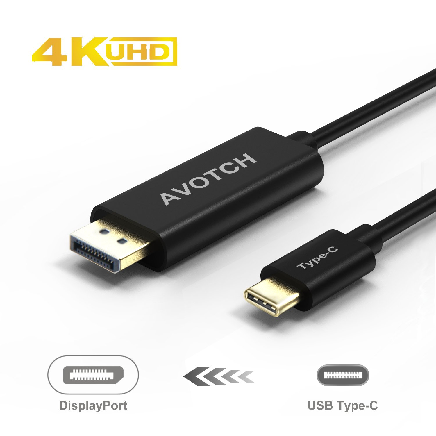 USB C to DisplayPort Cable , AVOTCH USB 3.1 Type C (Thunderbolt 3 Compatible) to DP Cable 6FT 4K 60HZ with Aluminium Case for 2016 MacBook Pro