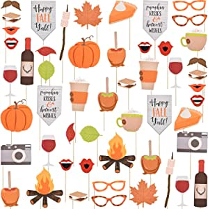 52 Pieces Happy Fall Yall Photo Booth Props Kit Thanksgiving Day Harvest Festival Pumpkin Party DIY Costumes Props with Wooden Sticks for Party Decorations