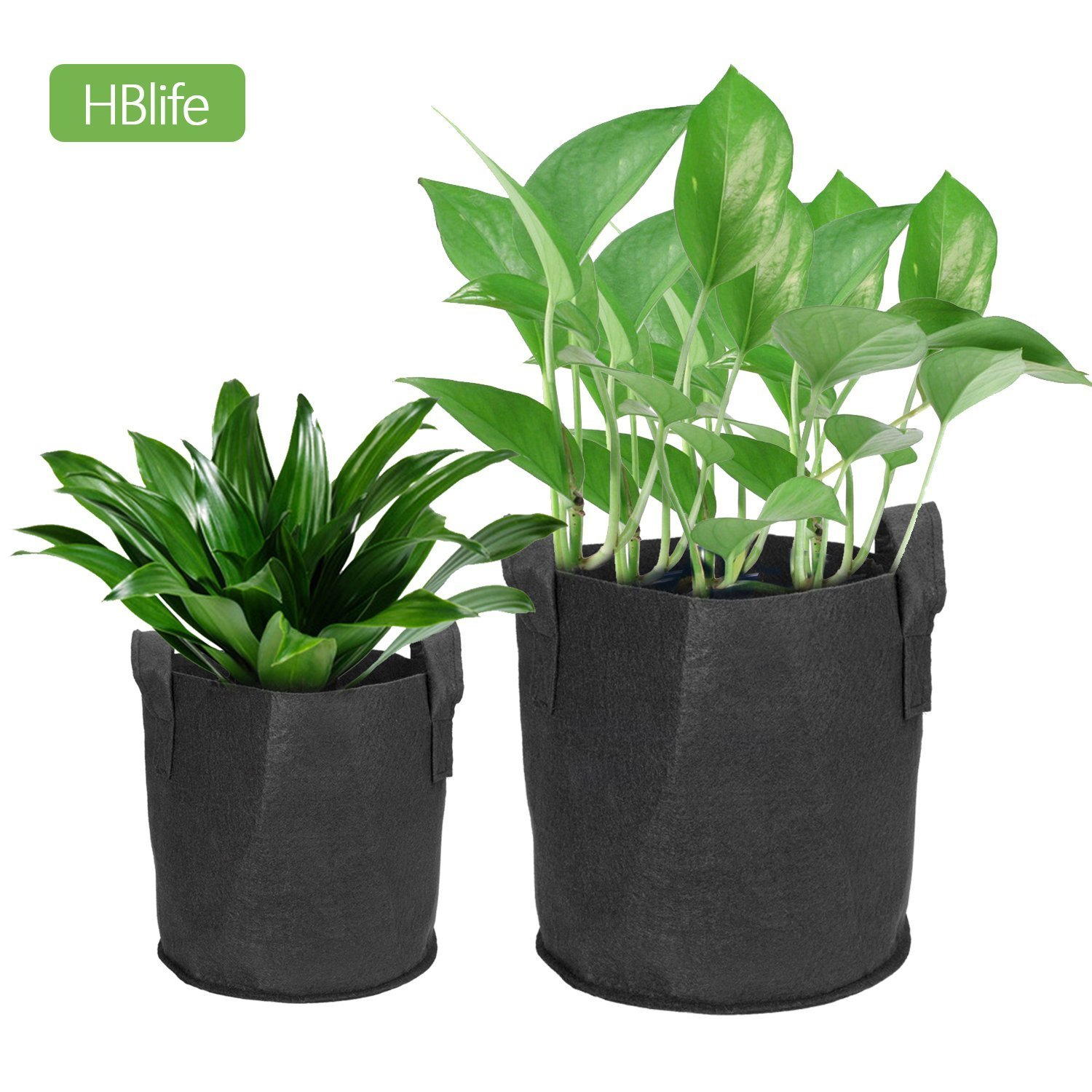 5pcs/set Plant Growing Bag Nonwoven Fabric Breathable Planter Bags with Handle Strap for Tomato Potato Vegetable (3 gallons) HBlife