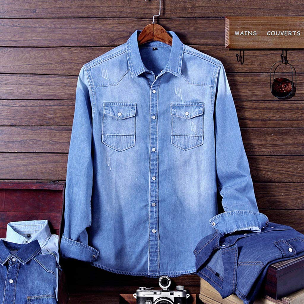 Mens Slim Fit Long Sleeve Pocket Large Size Casual Jean Top Denim Shirts