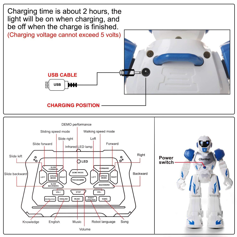 Glantop Remote Control RC Robots, Interactive Walking Singing Dancing Smart Programmable Robotics for Kids Boys Girls - Best Gift by Glantop (Image #4)