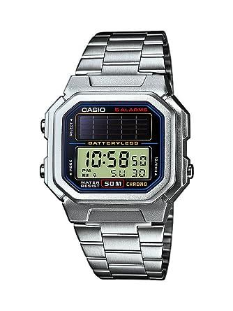 Casio CASIO Collection Men - Reloj digital de caballero de cuarzo con correa de acero inoxidable plateada (alarma, cronómetro, luz, solar) - ...