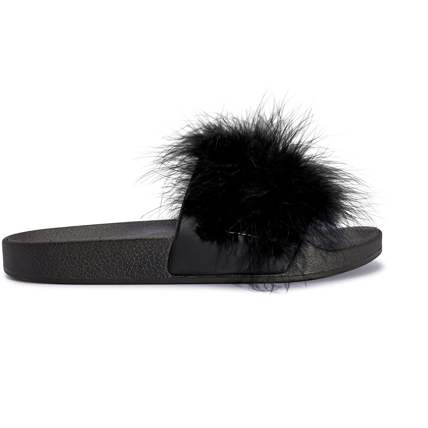 947743f50e4 Womens Ladies Faux Fur Feather Marabou Slip On Fluffy Mules Sliders Slippers   Amazon.co.uk  Shoes   Bags