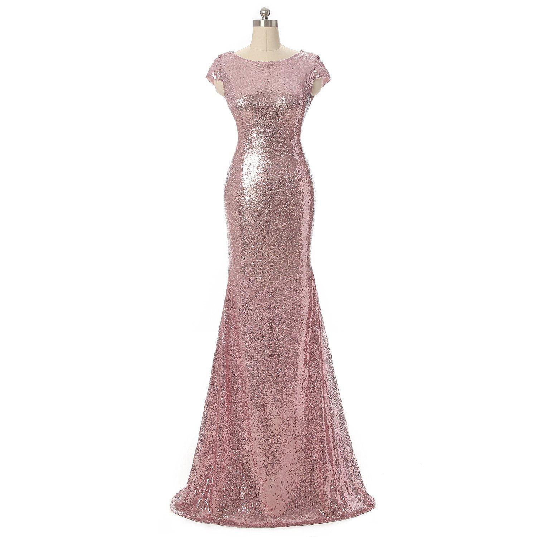 Fanciest Women's Cap Sleeve Sequin Long Mermaid Bridesmaid Dresses Gold