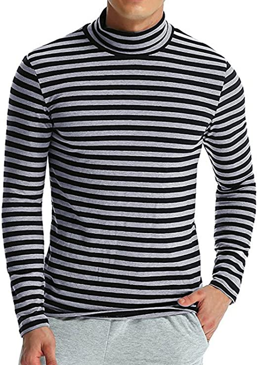 Mens High Collar Long Sleeve T Shirt Casual Striped Elastic Fitted Tee Tops New