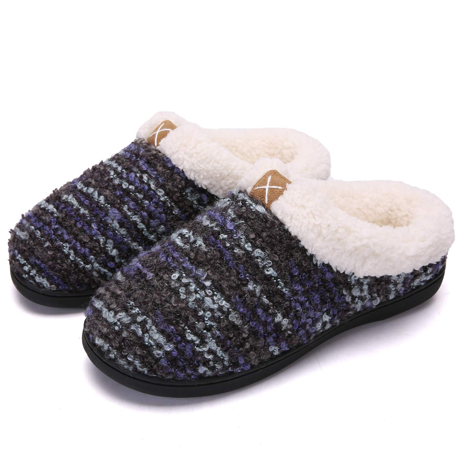Soft Slippers for Womens Plush Fleece Lined Super Comfort Keep Your Feet Warm Black Blue Large