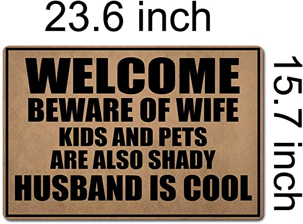 Funny housewarming porch or front door or Father/'s Day gift. wedding anniversary BEWARE OF WIFE funny wood sign for entryway