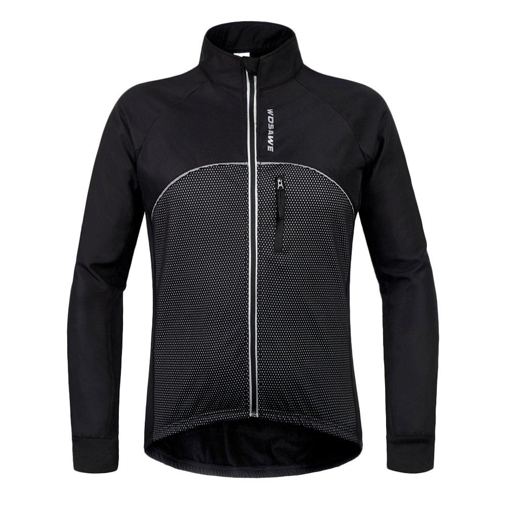 Wolfbike 自転車 サイクルジャケット ウインドブレーカー 軽量 撥水 サイクルウエア 防風 通気 バックポケット 反射材 アウトドア メンズ レディース 全5色 B01MTNTMQD X-Large|Fleece Jacket_Black Fleece Jacket_Black X-Large