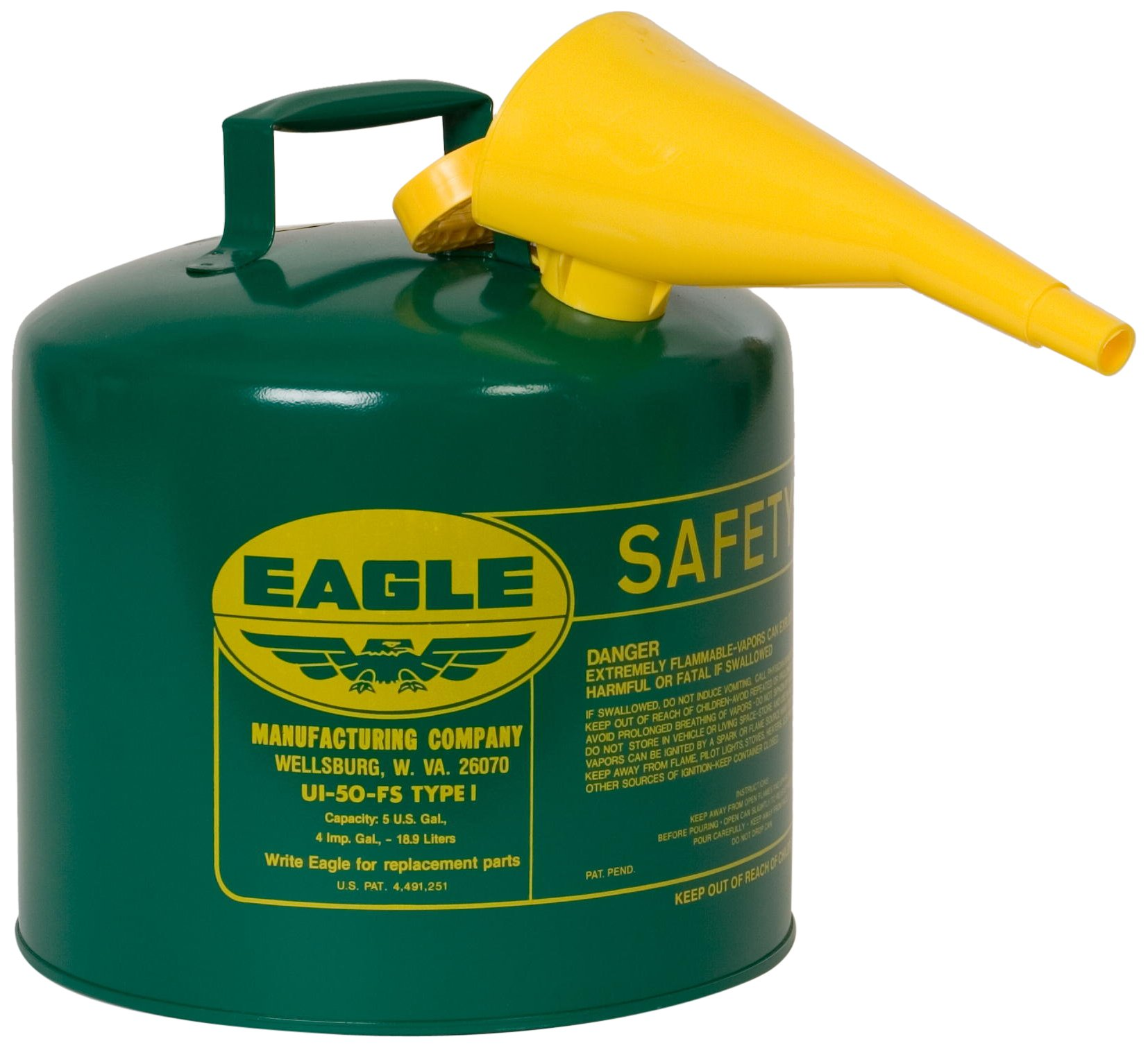 Eagle UI-50-FSG Type I Metal Safety Can with F-15 Funnel, Combustibles, 12-1/2'' Width x 13-1/2'' Depth, 5 Gallon Capacity, Green