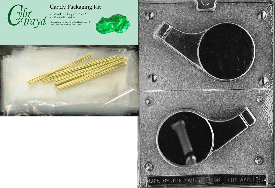Cybrtrayd Life of the Party J015 Large Whistle Chocolate Candy Mold in Sealed Protective Poly Bag Imprinted with Copyrighted Cybrtrayd Molding Instructions