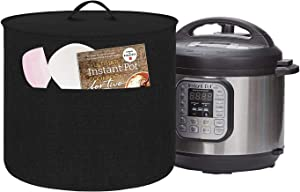 Dust Cover for Instant Pot Pressure Cooker, Cloth Cover with Pockets for Holding Extra Accessories, Waterproof Easy Cleaning (Black, For 6 Quart Instant Pot)
